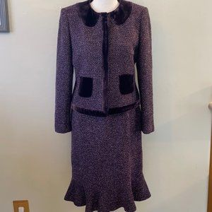 Albert Nipon Size 6 Petite Purple 2 Pc Suit Blazer